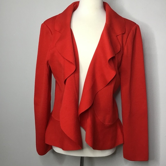St. John Red Wool Open Sweater Jacket Peplum Sz 16